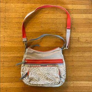 Fossil gray and coral crossbody/hobo